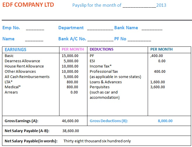 private job salary slip format