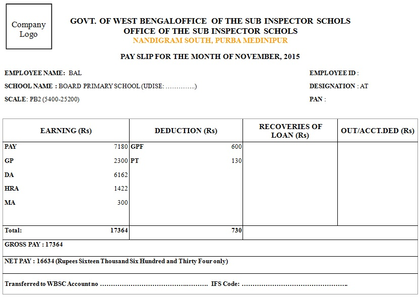 salary slip format for school teachers
