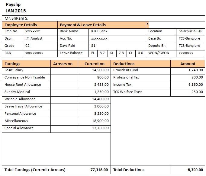 salary slip format tcs
