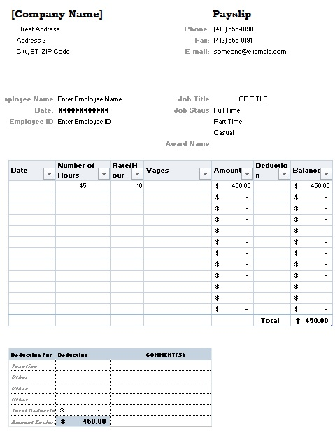 salary slip template 1