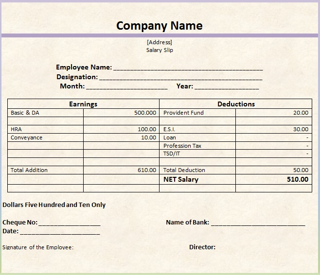 salary slip template 11