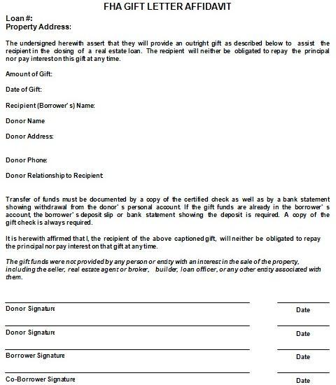 FHA gift letter affidavit