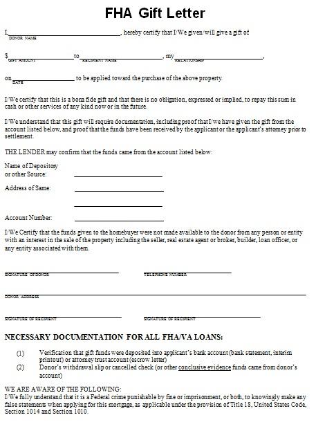 FHA gift letter