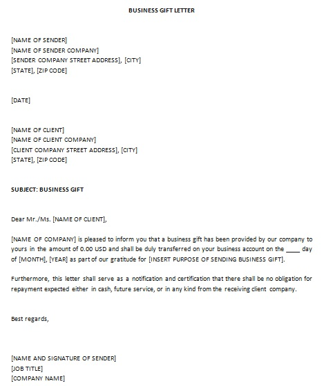 business gift letter
