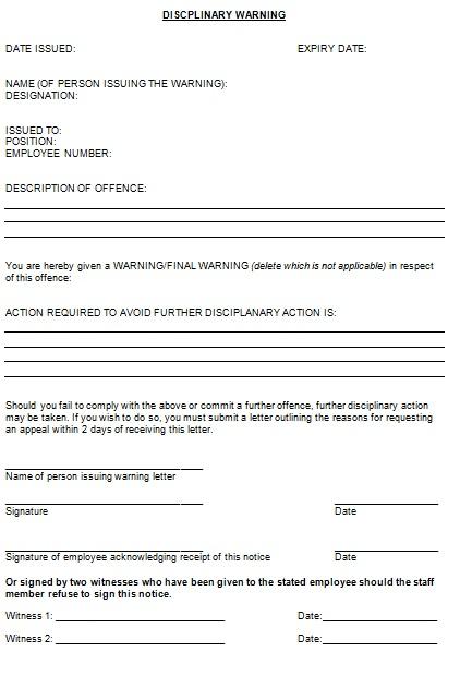 discplinary warning