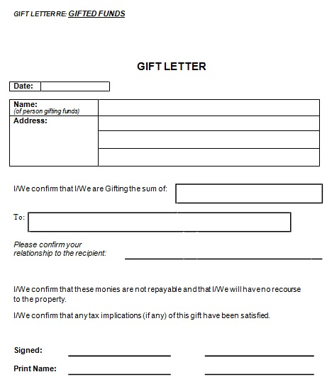 gift letter for fund