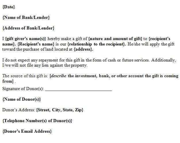 gift letter for land