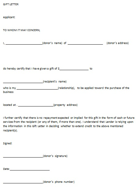 gift letter template 8