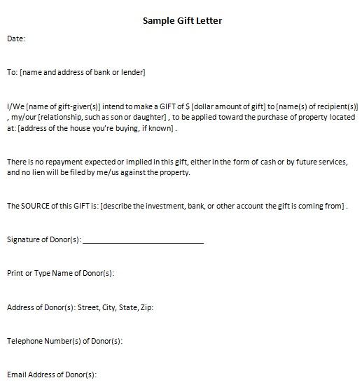 sample gift letter