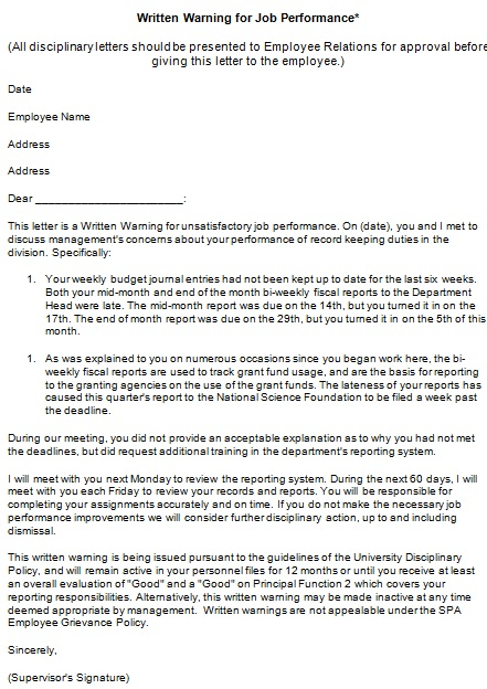 warning letter to employee 1