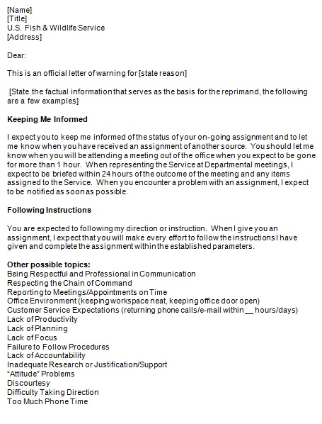 warning letter to employee 2