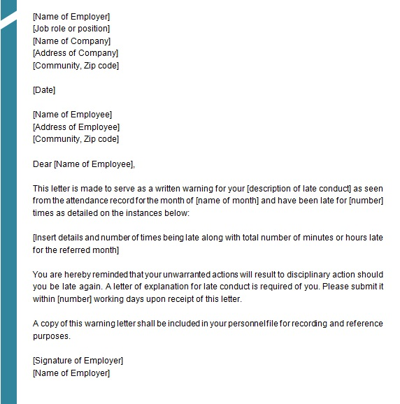 warning letter to employee 3
