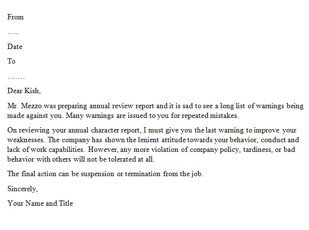 warning letter to employee for making mistakes