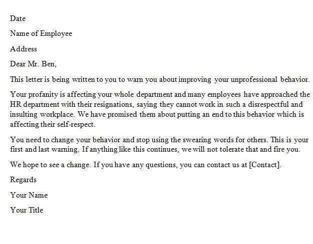 warning letter to employee for unprofessional behavior
