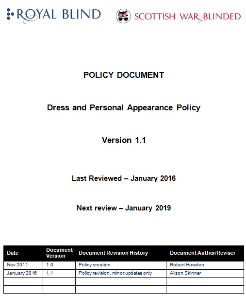 dress and personal appearance policy