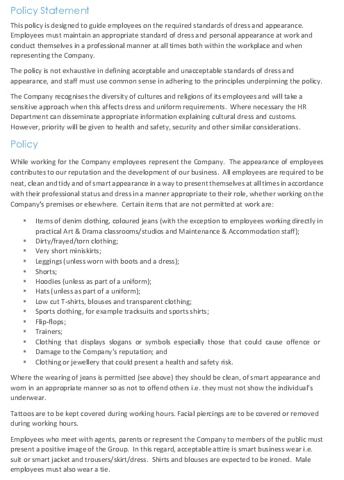dress code and appearance policy in pdf