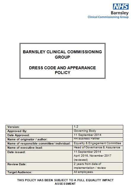 dress code and appearance policy template
