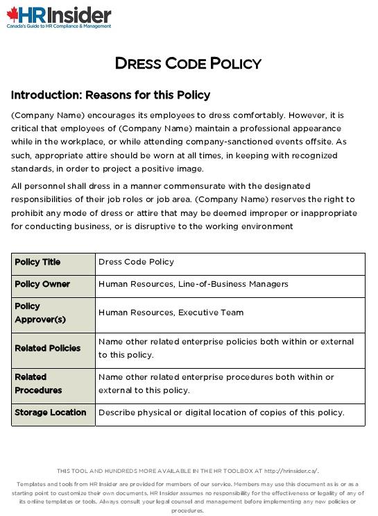 dress code policy sample