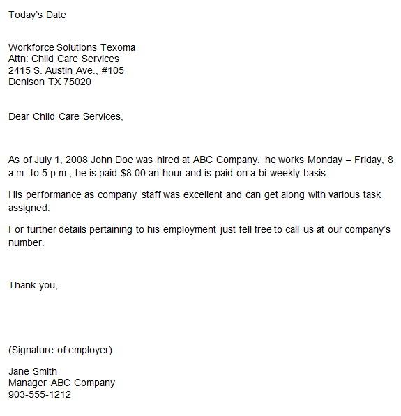 employer verification letter