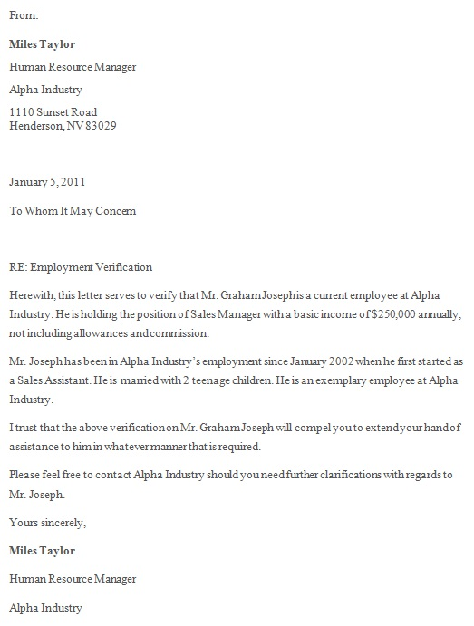 employment verification template