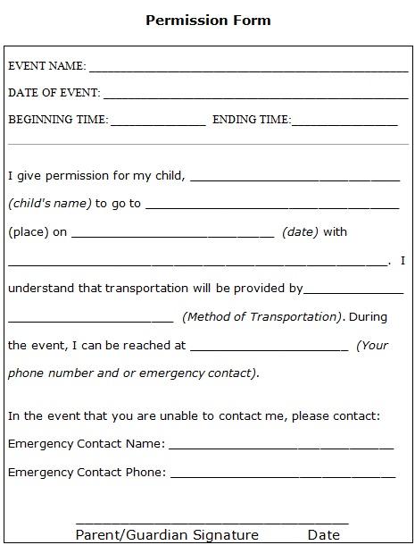 event permission slip