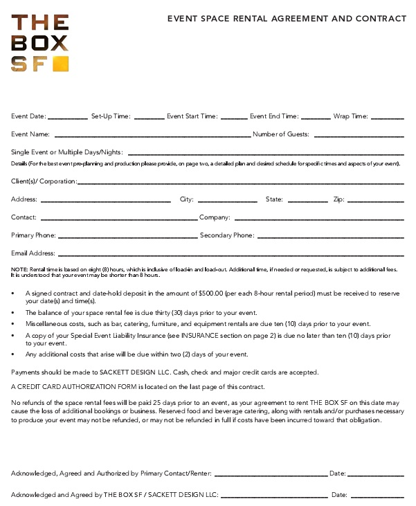 event space rental agreement and contract