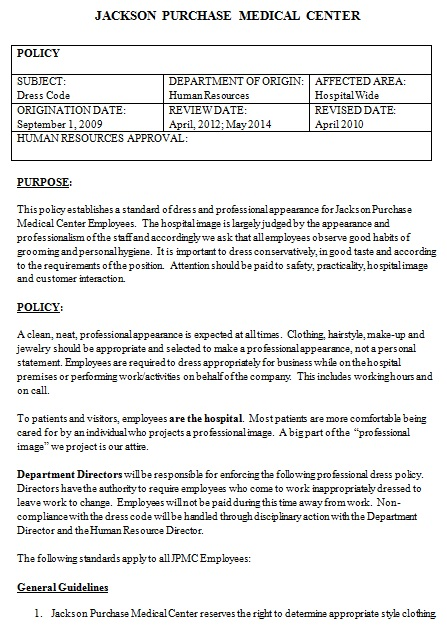 professional dress code policy template