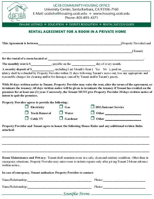 rental agreement for a room in a private home