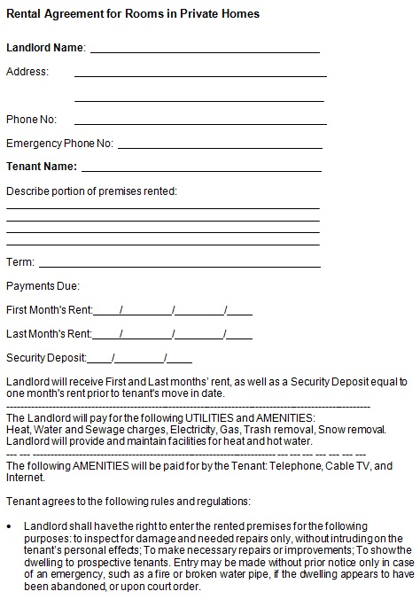 rental agreement for rooms in private homes