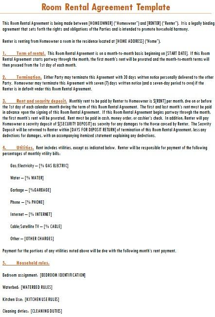 room rental agreement template word