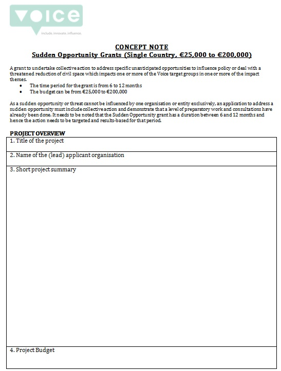 sudden opportunity concept note template