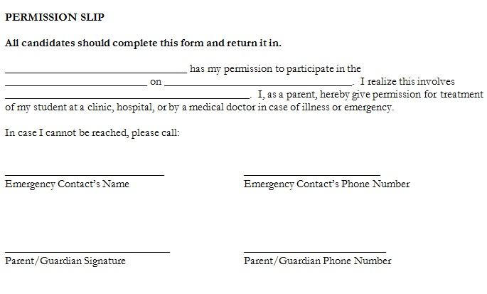 trip permission slip template