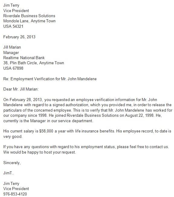 work verification letter
