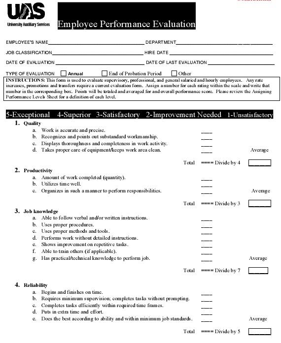 annual performance appraisal form sample