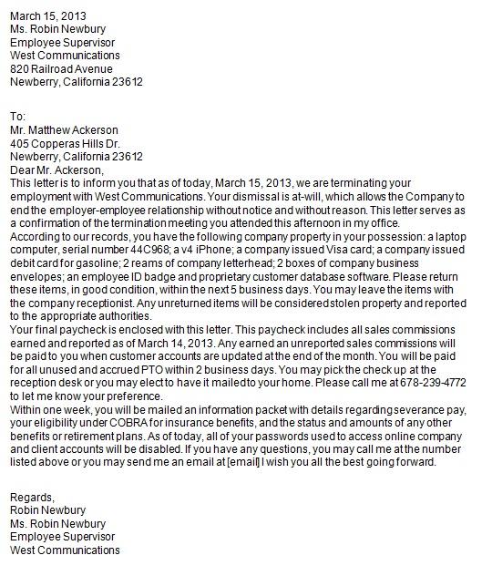 employee release letter
