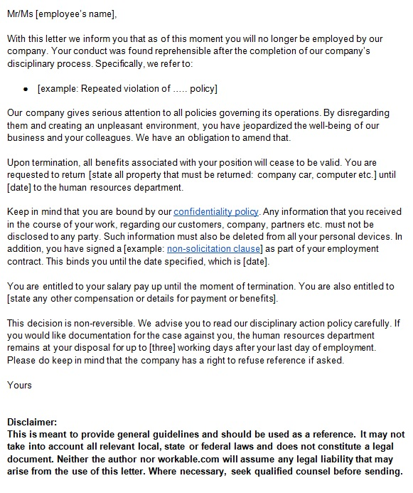 end of contract letter to employer