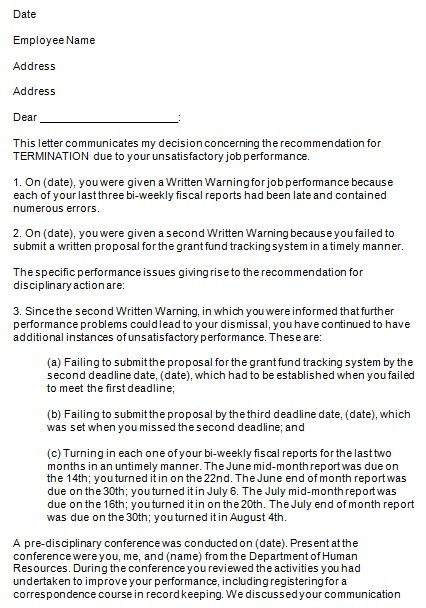 format of termination letter for unsatisfactory performance