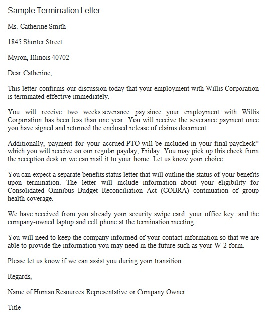 immediate termination letter to employee