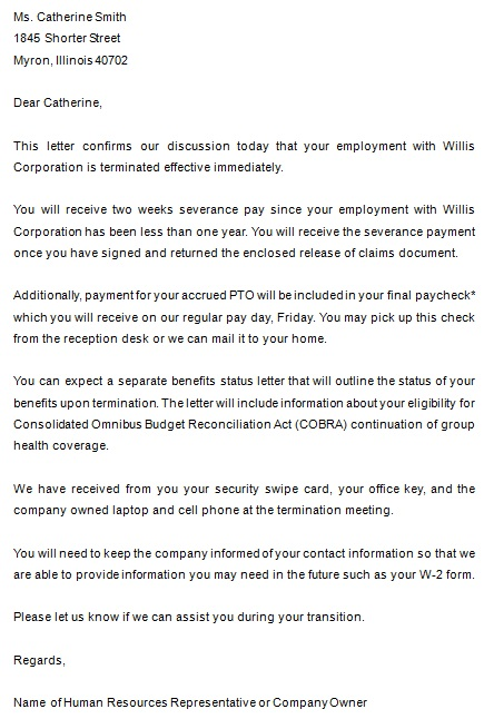 letter to inform staff of employee termination sample