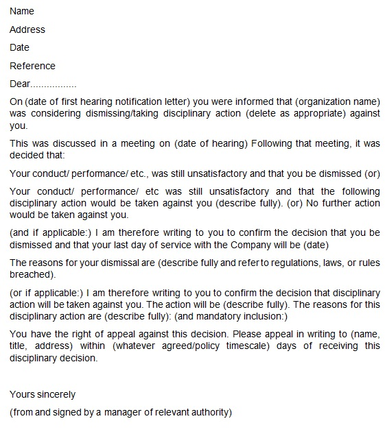 termination letter to employer