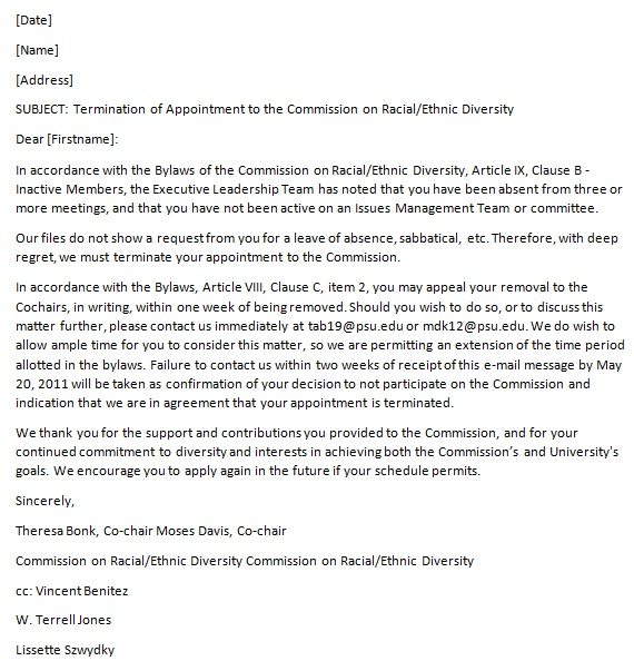 termination of employment contract sample letter