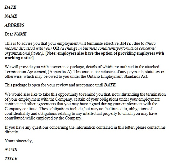 termination of employment template