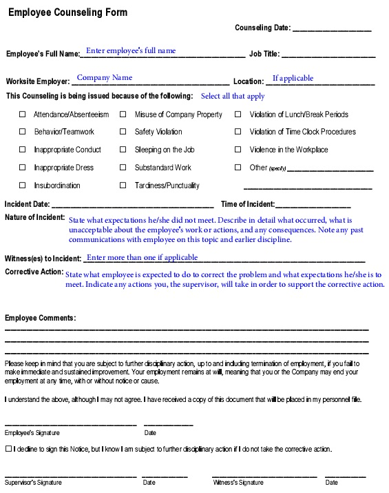 counseling form for employee in PDF