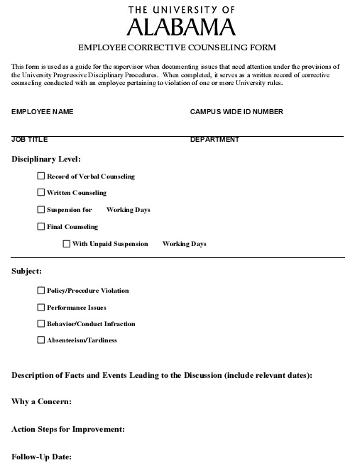 employee corrective counseling form