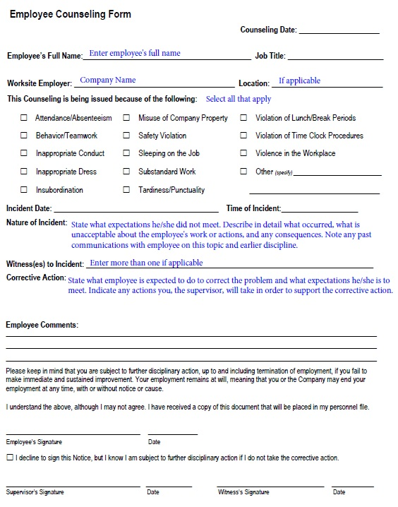 24+ Free Employee Counseling Form Templates [Word+PDF]