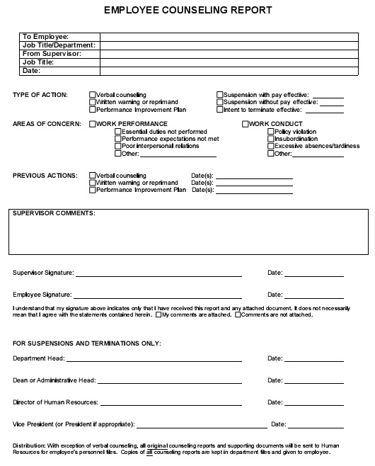 employee counseling report form 1
