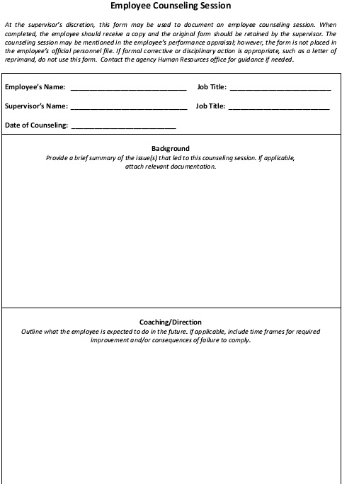 employee counseling session form