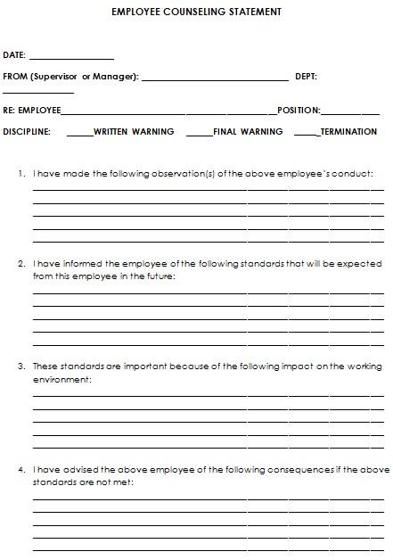 employee counseling statement