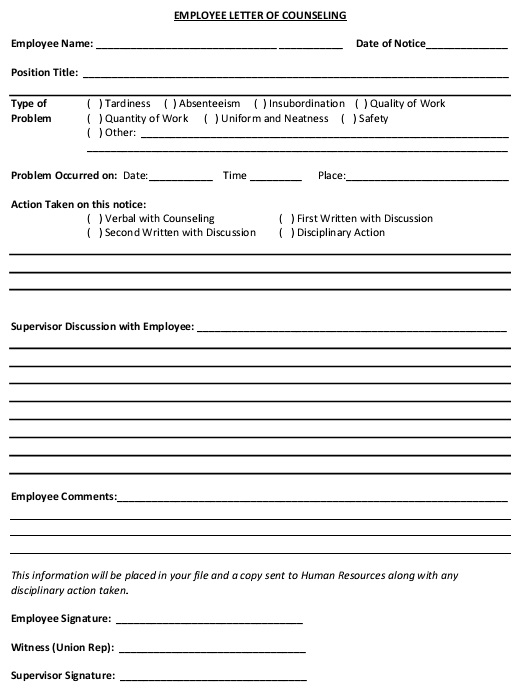 employee letter of counseling form example