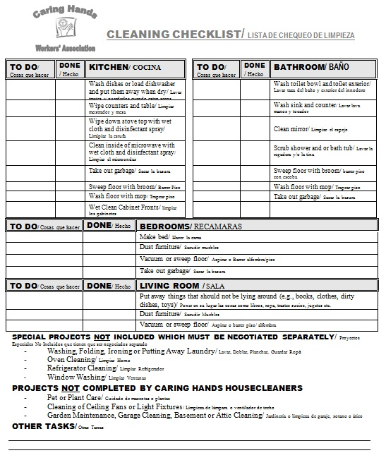 free printable house cleaning checklist for maid